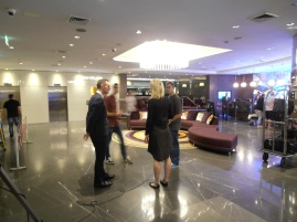 Chanelle, Matt & Elliot discussing scripts with Gavin from Pullman Hyde Park